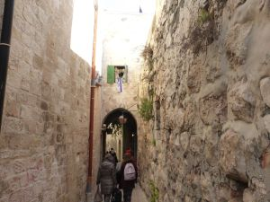 Mazes xx of narrow walkways wind around inside the Old City walls of Jerusalem
