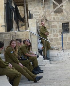 Young Israeli soldiers on a field trip near the Wailing Wall.