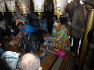 Pilgrims in the Church of the Holy Sepulchre