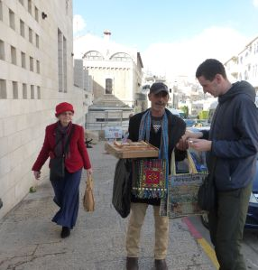 Marilyn and Igor with an Arab vendor in Bethlehem