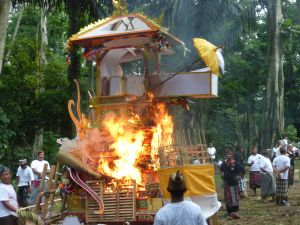 The float, the casket, the bamboo poles used to carry everything - all go up in smoke
