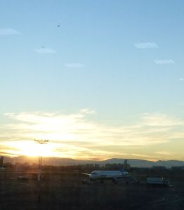 View from the Ubekistan Airport at dawn. Hundreds of migrating birds were flying south xx