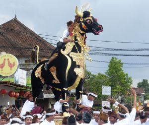 This bull cremation tower was at the front of the procession