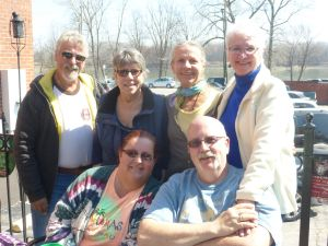 Front row: Brother Mike and his wife Erika came in from Florida, my sister Trish between Barry and me, and cousin Coleen - on the Missouri River