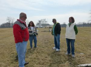 Mike, Erika, & Barry listening to Elaine explain our family history. The land for the church and cemetery were donated by an ancestor.