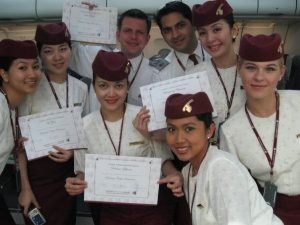 Qatar flight attendants