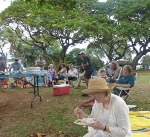 We shared a great feast (with not a single bag of potato chips) - Judy, John M., Karen , xxxx