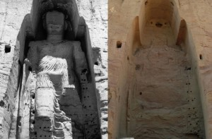 The huge Buddha statues, carved in the 5th and 6th centuries in Afghanistan - but destroyed by the Taliban in xx