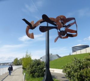 Art along the waterfront walkway in Seattle