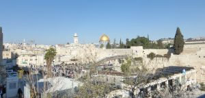 View of the Temple Mount - golden dome. The area below is at the remained of the Second Temple where Jewish people may pray.