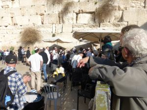 At the Wailing Wall - men at one side, women at the other. Here a boy's bar mitzvah is taking place.