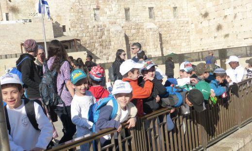 Jewish boys at the Western Wall - Old City Jerusalem