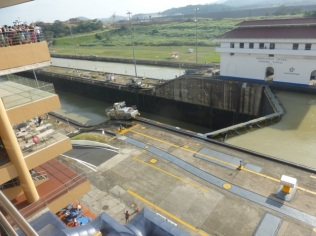 "Canal ""tug"" changing levels at the Miraflores Locks"