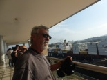 Barry on the observation deck - a container ship passing through the Miraflores Locks