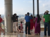 An indigenous family at the Panamá Canal's Miraflores Locks