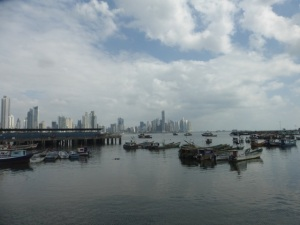 View of Panamá City from the causeway