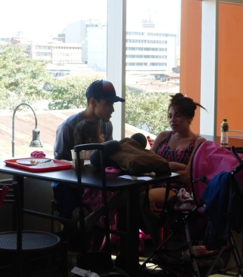 A young family in the new 7/10 San José Bus Station
