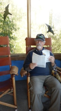 Barry checking the facts at the Monteverde Butterfly Gardens