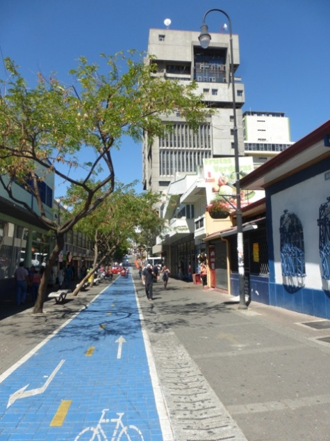 A biking and walking street in San José